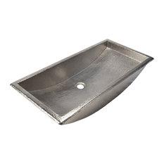 "Copper Trough Bathroom Sink, Brushed Nickel, 30"""