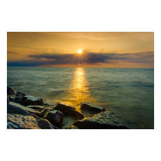 """Sun Ray on the Water"" Landscape Photo, Beach Unframed Wall Art Print, 20""x24"""