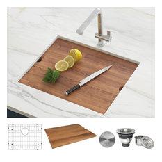 """Ruvati 23"""" Workstation Undermount Stainless Steel Kitchen Sink, RVH8308"""