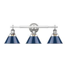 3-Light Chrome Bath-Light With Navy Blue Shades