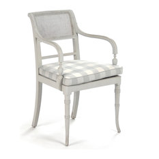 Pissarro French Country Antique White Caned Arm Chair