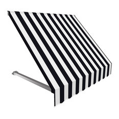 6' Dallas Retro Window/Entry Awning, Black/White