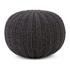 Shelby Transitional Round Hand Knit Pouf, Slate Gray