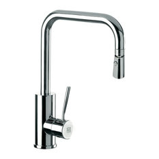 Sink Mixer With High Movable U-Spout, Dual Jet Handspray, and Round Body