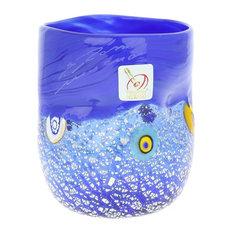 Murano Glass Drinking Glass, Silver Blue Mosaic