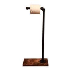 Industrial Toilet Paper Stand, Rustic, Dark Walnut Nickel