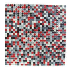 "12.87""x12.87"" Burst Red White Black Gray Mosaic Backsplash Tile"