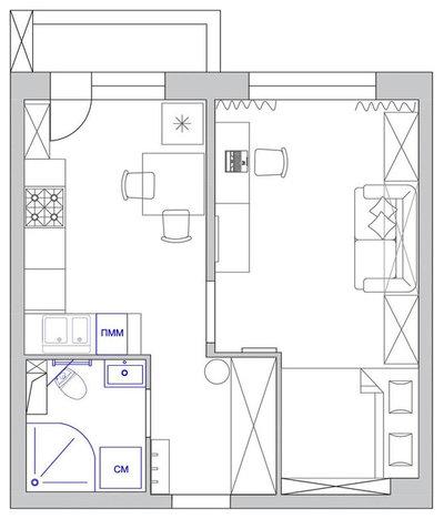 Wohnung 33 Qm, Layout. Vor Der Reparatur Der Trennwand Zwischen Bad Und  Vorraum Sowie Zwischen Vorraum Und Bad Befanden Sich Ein Wenig Nach Links
