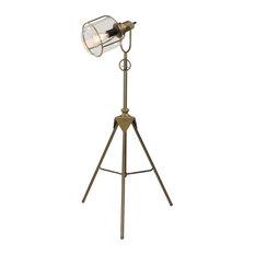Industrial Bronze Metal Tripod Floor Lamp With Spotlight Glass Shade