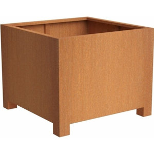 Adezz Corten Steel Planter, Andes Cube with Feet, 80x80x80cm