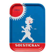Small Solsticke Serving Tray, Classic Red and Blue