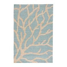 """Jaipur Living Coral Indoor/Outdoor Abstract Teal/Tan Area Rug, 5'x7'6"""""""