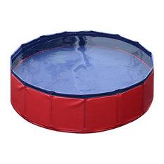 "Pawhut 12""x63"" Foldable PVC Pet Swimming Pool, Red and Blue"
