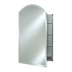 "Arch Top Frameless Medicine Cabinets, 20""x30"", Hinge: Left"