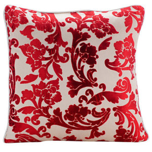 Cayenne Red Florals, Red Burnout Velvet 35x35 Throw Cushion Covers