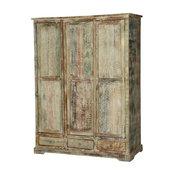 Woodsburgh White Washed Reclaimed Wood Large Wardrobe Armoire w Drawer