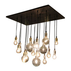 18-Pendant Rustic Chandelier, Gold Sockets, Suspended Mount, No Bulbs