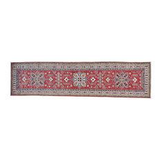 "2'7""x10'4"" Tribal Design Pure Wool Handmade Runner Super Kazak Rug"
