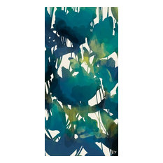 Abstract Floral Floral Print Bath Towel, Teal
