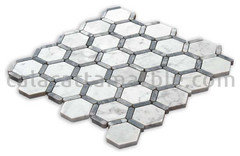 Http Www Calacattamarble Bianco Carrara Honeycomb With Gray Bardiglio Honed P Cmm 276h Htm