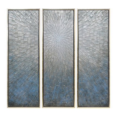 Silver Ice Textured Metallic Hand Painted Wall Art by Martin Edwards