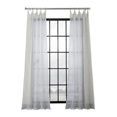 "Altair Blue Patterned Linen Sheer Curtain Single Panel, 50""x108"""