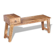 vidaXL Solid Mango Wood Bench With Drawer, 120x36x60 cm