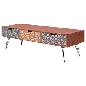 VidaXL Retro Design TV Cabinet With 3 Drawers, Brown