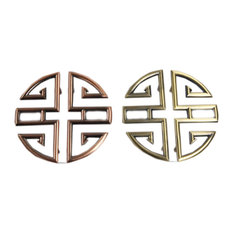 Blancho Bedding Chinese Vintage Hollow Zink Alloy Drawer Cabinet Pulls 2 Pair