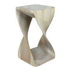 "Haussmann Original Wood Twist Stool 10""x10""x18"", Livos Agate Gray Oil"