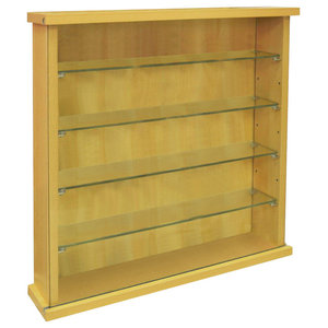 Wall Display Cabinet in Oak Finished Particle Board with Four Glass Shelves