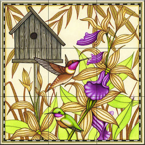 Tile Mural, Hummingbird and Orchids, 32.4x32.4 cm