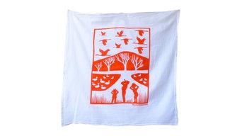 Flour Sack Dish Towel, Cranes, Burnt Orange