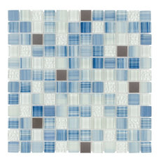 MTO0283 Hand Painted Squares Blue Gray White Glossy Glass Metal Mosaic Tile