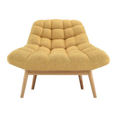 Sofamania   Modern Contemporary Plush Linen Accent Chair, Yellow    Armchairs And Accent Chairs