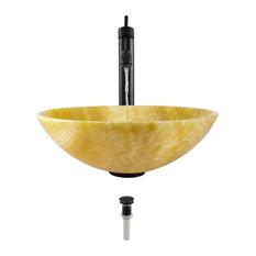 Honey Onyx Vessel Sink, Antique Bronze, Vessel Faucet