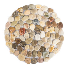 Polished Cobblestone Pebble Tile for Floors/Garden/Yards, Set of 6, Circular