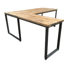 L-Shaped Reclaimed Wood Desk, Small, Right Hand Return