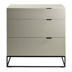 Vizzione High Gloss Gray Lacquer Tall Dresser/Nightstand