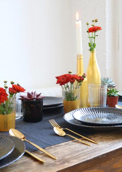 altes glas lackieren f r eine herbstliche tischdeko in gold. Black Bedroom Furniture Sets. Home Design Ideas