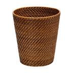 Round Rattan Waste Basket, Honey-Brown