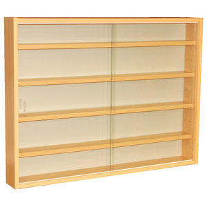 Reveal 4-Shelf Glass Wall Collectors Display Cabinet, Beech
