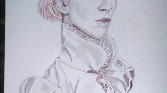 Retrato con vino de Dama elegante