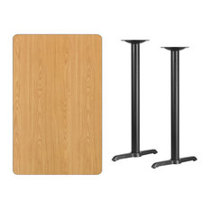 Offex Rectangular Laminate Table Top Bar Height Table Bases Natural 30-inchx48-inch