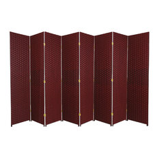 6' Tall Woven Fiber Room Divider, 8 Panel, Red/Black
