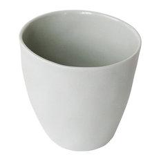 Porcelain Espresso Cups, Set of 4, Green-Grey, Matte Exterior
