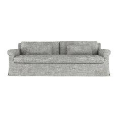 Ludlow 10' Crushed Velvet Sofa Silver Streak Extra Deep