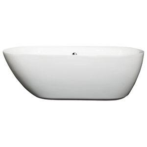 "65"" Freestanding Bathtub, White, Polished Chrome Drain and Overflow Trim"