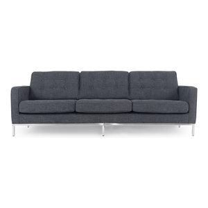 "Kardiel Florence Mid-Century Modern 89"" Fabric Sofa, Steel Twill"