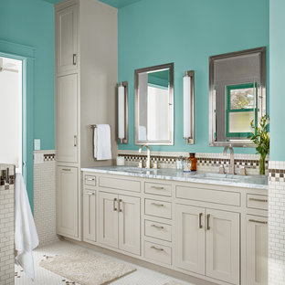 This is an example of a country bathroom in Austin with an undermount sink, shaker cabinets, grey cabinets, a freestanding tub, mosaic tile, blue walls and white tile.